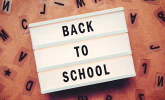 Back to school concept with letters on lightbox